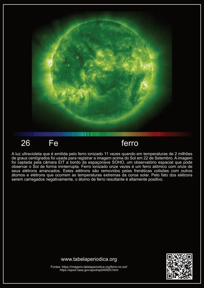 elemento ferro encontrado no Sol