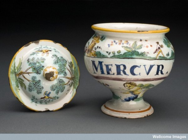 jarra para pílulas de mercúrio
