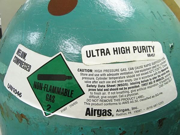 cilindro contendo hélio em alta pureza
