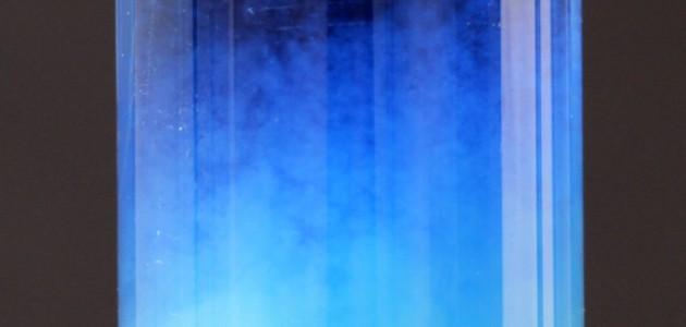 tubo de ensaio com aparência de flocos azulados