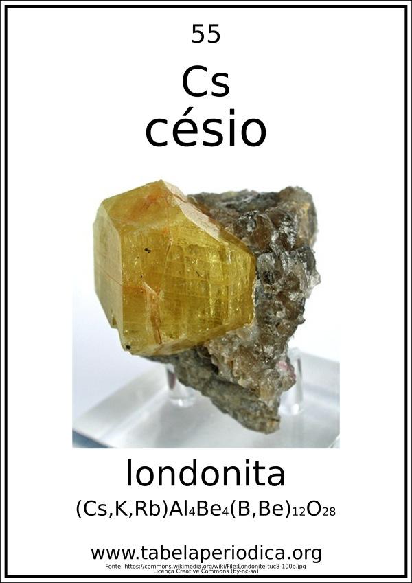 mineral londonita - presença de césio em rocha